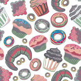 Vector food bakery seamless pattern with baked goods. Flour products from pastry shop. Royalty Free Stock Image