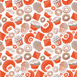 Vector food bakery seamless pattern with baked goods. Flour products from pastry shop. Illustration for print, web. Stock Photos