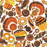 Vector food bakery seamless pattern with baked goods. Flour products from pastry shop. Illustration for print, web. Royalty Free Stock Photos