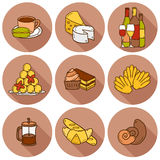 Vector food concept with line background and Royalty Free Stock Photos