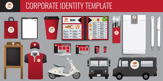 Vector food corporate identity template design set. Red and black color Branding vector mock up for your design. Stock Image