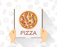 Vector food delivery banner. Pizza delivery. Flat style, top view. Food delivery banner. Pizza delivery. Flat style, top view Vector Illustration
