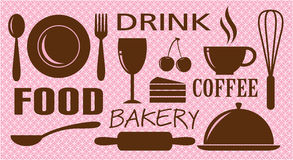 Vector of food,drink,bakery and coffee Royalty Free Stock Photos