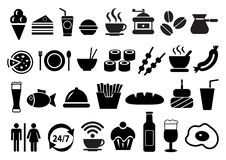 Vector food and drink icons set.  stock illustration