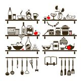 Vector food and drinks icons set Royalty Free Stock Images