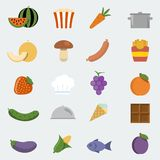Vector food icons set stock illustration