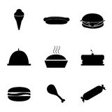 Vector food icons set. On white background Stock Photo
