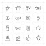 Vector food icons set on wite background Royalty Free Stock Image