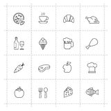 Vector food icons set on wite background Royalty Free Stock Photography