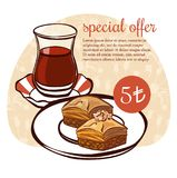 Vector food illustration with traditional turkish tea and dessert baklava. Hand drawn vector illustration of traditional turkish dessert baklava and a glass of Royalty Free Stock Images