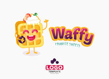 Vector food logo design. Belgium waffles with ice cream and strawberries isolated on white background. Stock Photos