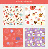Vector food pattern with dessert icons in circles Royalty Free Stock Photography