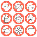 Vector food prohibited for vegans. Vector icons with food prohibited for vegans. Healthy lifestyle. Go vegan concept. Vegan rules for health. Outline objects Stock Images