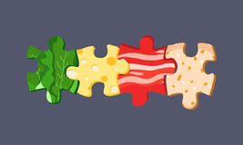 Vector food puzzles Stock Photos