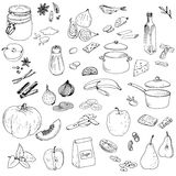 Vector food set. Ink drawing vector elements Stock Photo