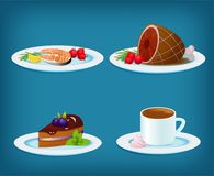Food Set with Grilled Fish, Meat, Dessert Cake and Coffee. Vector food set - plate with grilled fish, lemon and vegetables, grilled meat and tomato, blackberry Royalty Free Stock Images