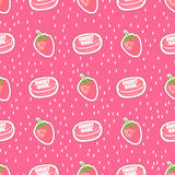 Vector food. Sweet babe. Candy stickers. Trendy seamless pattern with macaroons and strawberry on a pink background. Vector food. Sweet babe. Candy stickers Royalty Free Stock Images