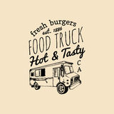 Vector food truck logo with lettering. Hand drawn hipster street snack car illustration. Hot And Tasty eatery emblem. Stock Photo