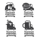 Vector food truck logos, emblems and badges Royalty Free Stock Photos