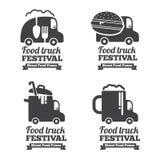 Vector food truck logos, emblems and badges Royalty Free Stock Photos