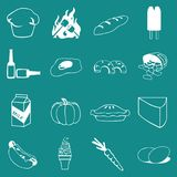 Vector Food, Vegetable and Drinks Icon Set On Flat UI Color Background Royalty Free Stock Image