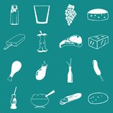 Vector Food, Vegetable and Drinks Icon Set On Flat UI Color Background Stock Photos