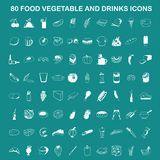 Vector Food, Vegetable and Drinks Icon Set On Flat UI Color Background Stock Photography