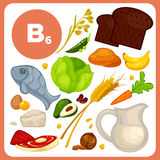 Vector food with vitamin B6. Set of organic food with vitamin B6. Ingredients for health: banana and avocado, fish, bread, potato, cabbage, walnut and wheat Stock Photography