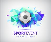 Vector football abstract design template for soccer covers, banners, sport placards, posters and flyers with ball. Facet. Geometric shape isolated stock illustration