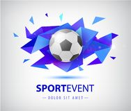 Vector football abstract design template for soccer covers, banners, sport placards, posters and flyers with ball. Facet. Geometric shape isolated vector illustration