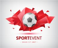 Vector football abstract design template for soccer covers, banners, sport placards, posters and flyers with ball. Facet. Geometric shape isolated royalty free illustration