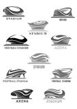 Vector football arena or sport stadium icons set. Sport stadium or football arena vector isolated futuristic or modern linear icons set design. Sporting field royalty free illustration