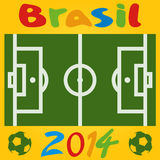 Vector football field illustration. Brasil 2014. flat Royalty Free Stock Image
