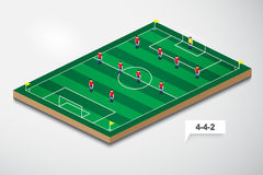 Vector of football formation tactic 4-4-2 Stock Images
