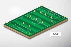 Vector of football formation tactic 5-3-2 Royalty Free Stock Photography