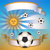 Vector Football poster with Argentina  flag Royalty Free Stock Photos