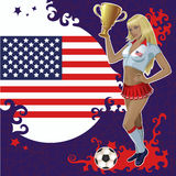 Vector Football poster with girl and American flag Stock Photos