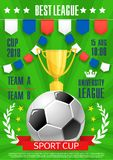 Vector football poster soccer college league cup. Soccer best college league award poster template for football tournament. Vector design of soccer ball, winner royalty free illustration