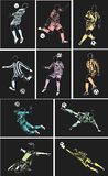 Vector football posters on soft black background Royalty Free Stock Image