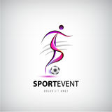 Vector football, soccer logo, Man with ball playing sign Stock Images