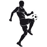 Vector football (soccer) player silhouette with ba Stock Photos