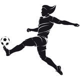 Vector football (soccer) player silhouette with ba. Ll isolated, silhouette isolad on white Royalty Free Stock Photos