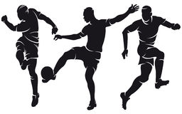 Vector football (soccer) players silhouettes Royalty Free Stock Photo