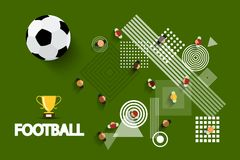 Vector Football - Soccer Playground. With Ball and Gold Cup. Aerial Field View with Abstract Shapes on Ground Stock Illustration