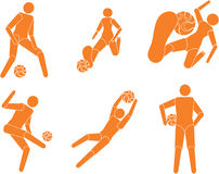 Vector footballers players silhouettes. Vector footballers (soccer) players silhouettes stock illustration