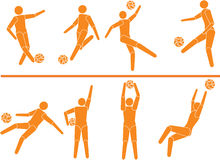 Vector footballers players silhouettes 2 Royalty Free Stock Images