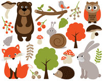 Vector Forest Animals Set. Vector Woodland Animals. Forest Animals Vector Illustration. Vector cute forest animals set includes: fox, bear, owl, snail, rabbit Stock Photos