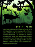 Vector forest background design template with mountains and animals Stock Photo
