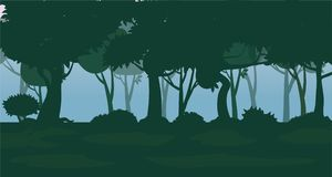 Vector forest background. Trees, bushes and thickets in the form of silhouettes. Vector, isolated. Vector forest background. Trees, bushes and thickets in the Royalty Free Stock Photography