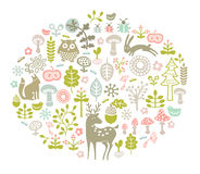 Vector forest card. Vector illustration with forest ornament Royalty Free Stock Photography